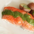 Baked Salmon with Green Sauce